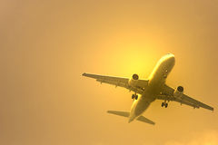 Sunset airplane Royalty Free Stock Image