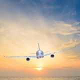Sunset airplane Royalty Free Stock Photos
