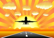 Sunset airplane i8 Royalty Free Stock Photos