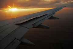 Sunset and the airplane wing Royalty Free Stock Image