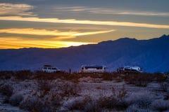 Sunset on Airstream Camp Borrego Springs California. Sun dropping behind the mountains in the CA desert near Borrego Springs stock photos
