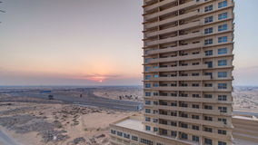 Sunset in Ajman from rooftop timelapse. Ajman is the capital of the emirate of Ajman in the United Arab Emirates. stock video