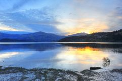 Sunset in Akaroa Harbor, New Zealand Stock Image