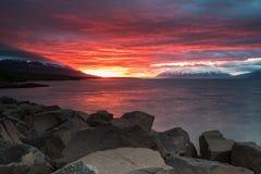 Sunset in Akureyri, Iceland. Midnight Sunset in Spring in Akureyri, Iceland Stock Images