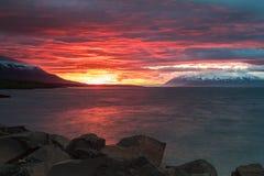 Sunset in Akureyri, Iceland. Midnight Sunset in Spring in Akureyri, Iceland Stock Photos