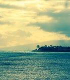 Sunset at Ala Moana Beach. Honolulu, Hawaii on memorial day 2016 Stock Photo