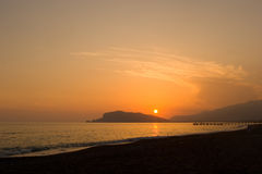Sunset in Alanya Stock Photo