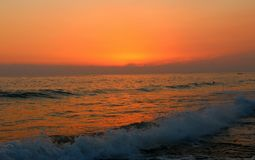 Sunset from alanya city of turkey. Alanya city is the south of Turkey. Mediterranean Sea Royalty Free Stock Images