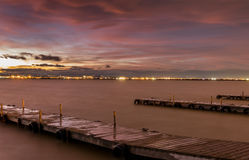 Sunset in Albufera, Valencia, long exposure Royalty Free Stock Images