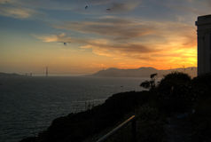 Sunset from Alcatraz. Photograph at sunset from Alcatraz Island looking out over San Francisco Bay and the Golden Gate Bridge Stock Photography