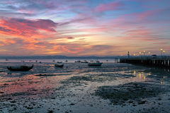 Sunset in Alchochete with view to Lisbon. And Vasco da Gama bridge, Portugal Stock Images