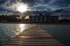 Sunset in Alcudia Mallorca. Sunset on the beach Stock Image