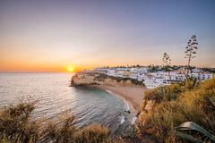 Sunset at Algarve coast, Carvoeiro, Portugal royalty free stock image