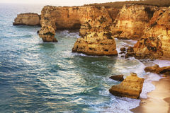 Sunset in  Algarve, Portugal Royalty Free Stock Images