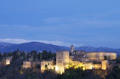 Sunset in Alhambra Royalty Free Stock Photos