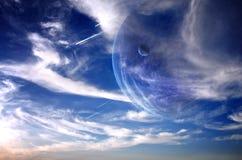 Sunset in alien planet stock illustration