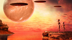 Sunset on alien planet. Sunset on another planet with ocean, flying saucers and two aliens Royalty Free Stock Images