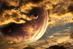 Sunset in alien planet Stock Photography