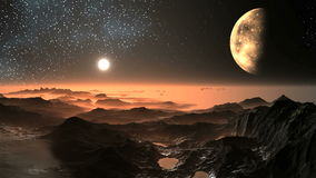 Sunset on the Alien Planet. In the dark starry sky the sun sets behind a misty horizon that begins to glow with a bright yellow light. The big moon in the stock illustration