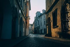 Sunset alley Royalty Free Stock Photos