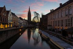 Bruges Canal at Sunset, Belgium royalty free stock photography