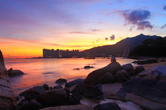 Sunset along the coast in Hong Kong Royalty Free Stock Photography