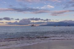Sunset Along Kaanapali Beach Maui. A beautiful sunset along Kaanapali beach on the island of Maui stock photography