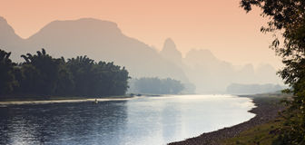 Sunset along the Li River Royalty Free Stock Photo