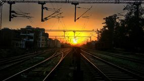 Sunset. Along with railway track Stock Photos