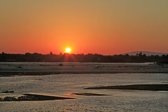 Sunset along Rufiji River, Selous Game Reserve, Tanzania Royalty Free Stock Photography
