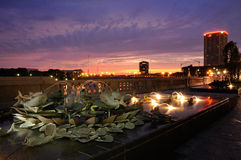 Sunset along the Sciotr Mile in columbus. Photograph of a water fountian at night along the Scioto mile Stock Image