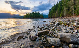 Sunset Along Shore of Harrison Lake Royalty Free Stock Photos