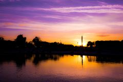 Sunset along waterfront Royalty Free Stock Photography