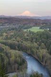 Sunset Light on Mount Hood. Sunset Alpenrose Pink Light on Mount Hood with Sandy River in Oregon royalty free stock images