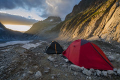 Sunset in the alpine camp Stock Photography