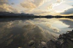Sunset at an alpine lake. Lake Hopfsee in the Allgäu (Bavaria, Germany Royalty Free Stock Photography