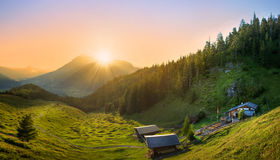 Sunset in the alps Stock Photos
