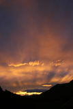 Sunset in the Altai Mountains. The evening sky in summer in the mountains of Altai Royalty Free Stock Images