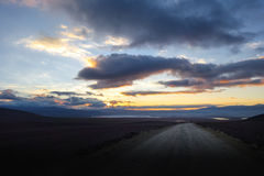 Sunset on altiplano mountains road in sud Lipez reserva, Bolivia Stock Image