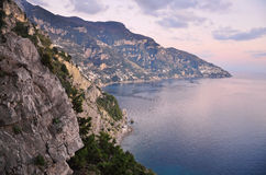 Sunset on the Amalfi Coast, Italy. The beautiful sunsets over the Amalfi coast, Italy Royalty Free Stock Image