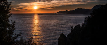 Sunset Amalfi coast. Between Naples and Salerno. Italy Royalty Free Stock Image