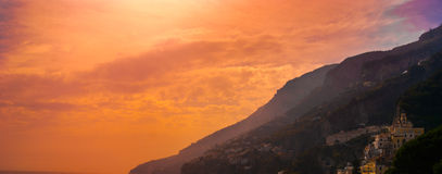Sunset in Amalfi. A picture of wonderful golden sunset in Amalfi, Italy, Campania Royalty Free Stock Photos