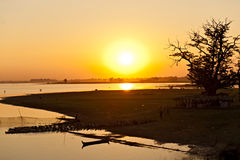 Sunset from Amarapura bridge, Myanmar. Royalty Free Stock Images