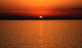 Sunset. Amazing sunset in the sea Stock Images