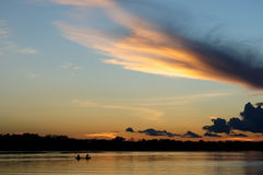 Sunset on the Amazon Royalty Free Stock Photos