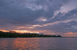 Sunset on the Amazon River Royalty Free Stock Photography