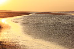 Sunset at Ameland beach, the Netherlands stock photography