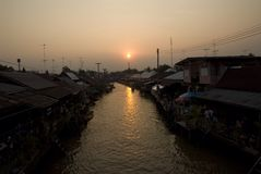 Sunset Amphawa thailand Royalty Free Stock Photos
