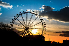 Sunset in amusement park Royalty Free Stock Photo