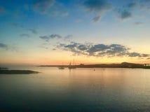 Sunset at anchor stock photo